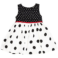Mini girls black polka dot prom dress