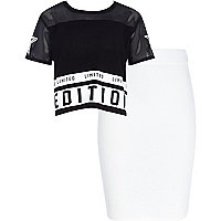 Girls black limited t-shirt and skirt set