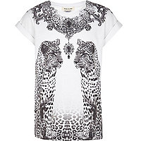 Girls white leopard print t-shirt