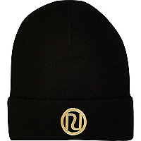 Girls black RI branded beanie hat