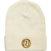 Girls cream RI branded beanie hat