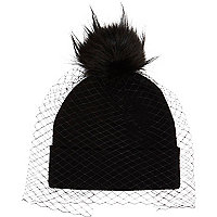 Girls black net pom beanie hat