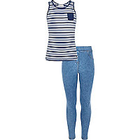 Girls blue stripe vest and leggings set