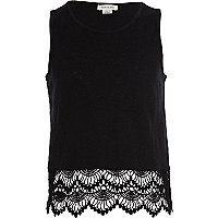 Girls black crochet border top