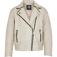 Girls cream PU biker jacket