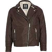 Girls brown ;leather-look biker jacket