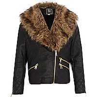Girls black PU jacket with faux fur collar