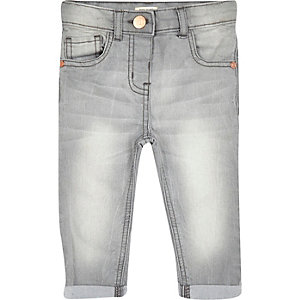 Mini girls grey skinny denim jeans