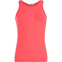 Girls bright pink ribbed vest