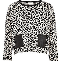 Girls black leopard print PU pocket jumper