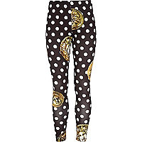 Girls black coin spot leggings