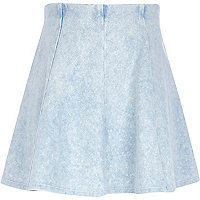 Girls blue denim look skirt