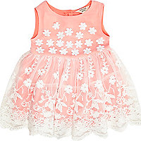 Mini girls coral flower prom dress