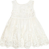 Mini girls cream flower prom dress