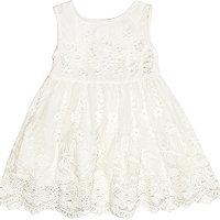 Mini girls cream flower prom dress
