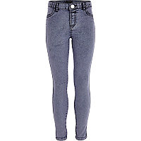 Girls purple acid wash jeggings