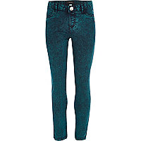 Girls green acid wash jeggings