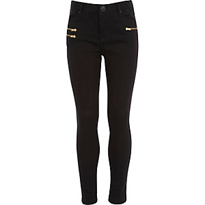 Girls black zip skinny jeans