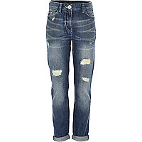 Girls blue mid wash ultimate boyfriend jeans