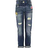 Girls denim badge boyfriend jeans