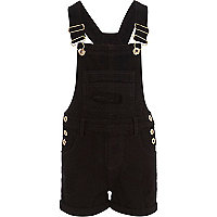 Girls black twill dungarees