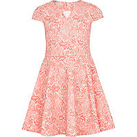 Girls pink lace skater dress