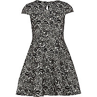 Girls black lace skater dress
