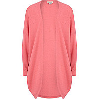 Girls pink draped midi cardigan