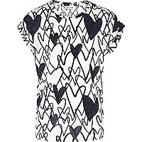 Girls navy heart embellished print t-shirt