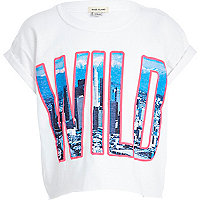 Girls white wild crop t-shirt