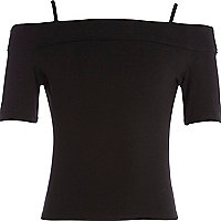Girls black bardot top