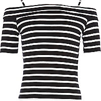 Girls black stripe bardot top