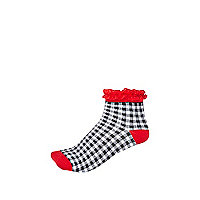 Girls black check red frill top socks