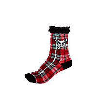 Girls red tartan bulldog socks