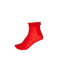 Girls red lace frill top socks