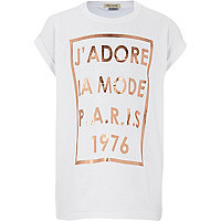 Girls white J'adore foil print t-shirt