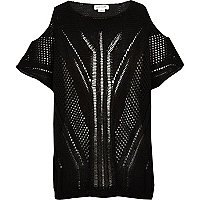 Girls black holey knit jumper
