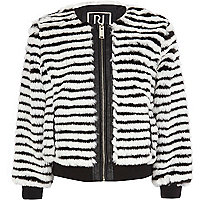 Girls black stripe faux fur coat