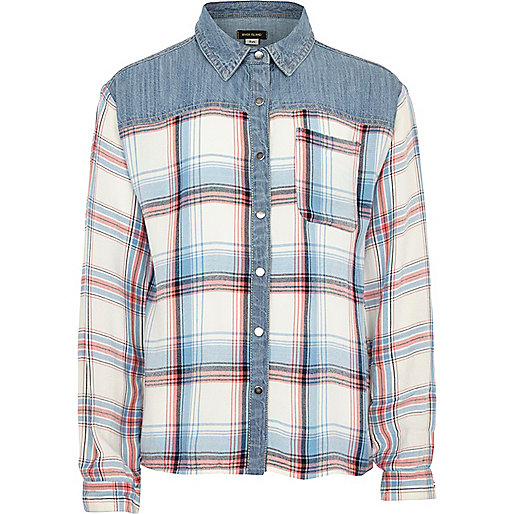 Girls denim pastel check shirt