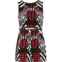 Girls red rose print belted playsuit