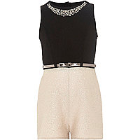 Girls black and gold metallic playsuit