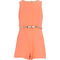 Girls fluro orange crepe playsuit