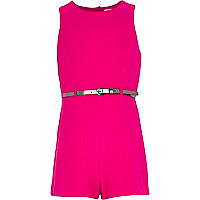 Girls bright pink crepe playsuit