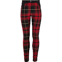 Girls red woven check print trousers