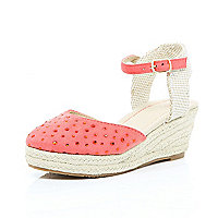 Girls coral ankle strap wedge sandals