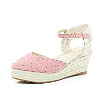 Girls pink ankle strap wedge sandals