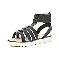 Girls black cleated sole gladiator sandal
