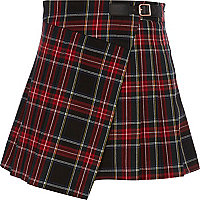 Girls red check kilt skirt