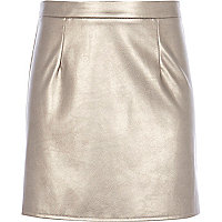 Girls silver metallic PU skirt