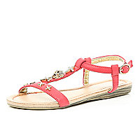 Girls flat coral sandals